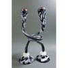 Michael Hudson - Lg Footed Twist Candlesticks Black & White