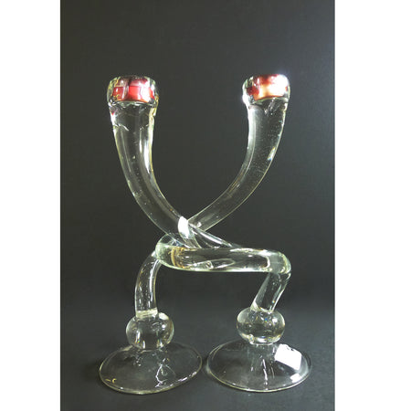 Lg Footed Twist Candlesticks Black & White