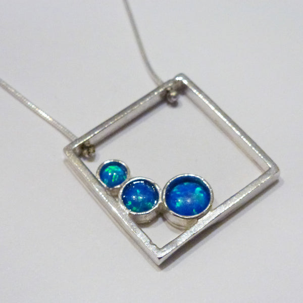Yair Stern - Silver Blue Square Necklace