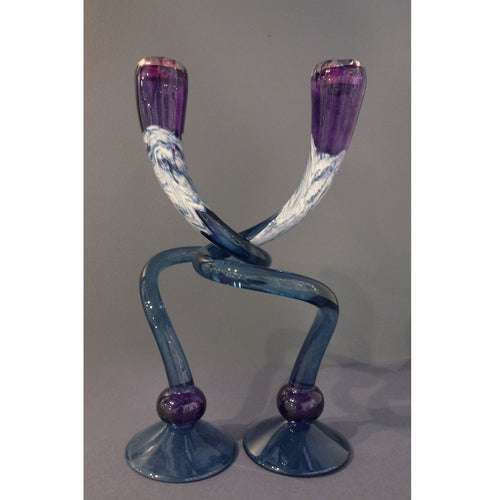 Michael Hudson - Large Footed Purple/ blue Candlesticks