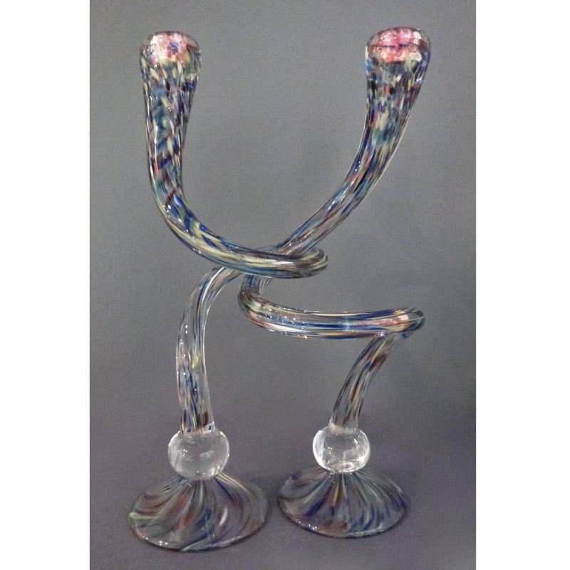 Michael Hudson - Large Footed Candlesticks  confetti clear