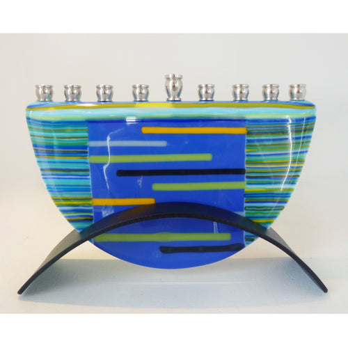 Marie Levine - Blue Stripes Menorah
