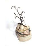 richard & susan surette - white glaze mountain jar with 1  tree