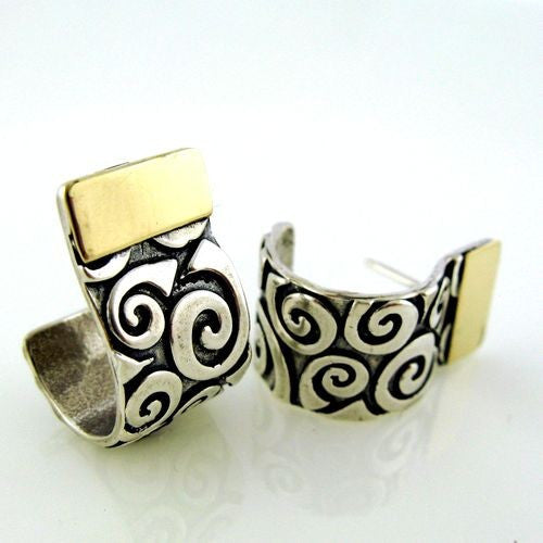 Yair Stern- Swirl Curled Earrings silver/gold