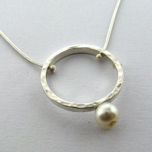 Yair Stern- Silver Circle Hanging Pearl Necklace