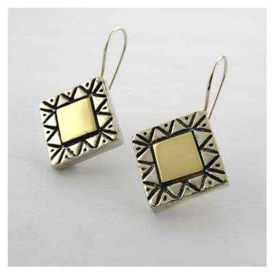 Gold and Silver Square Pattern Earrings