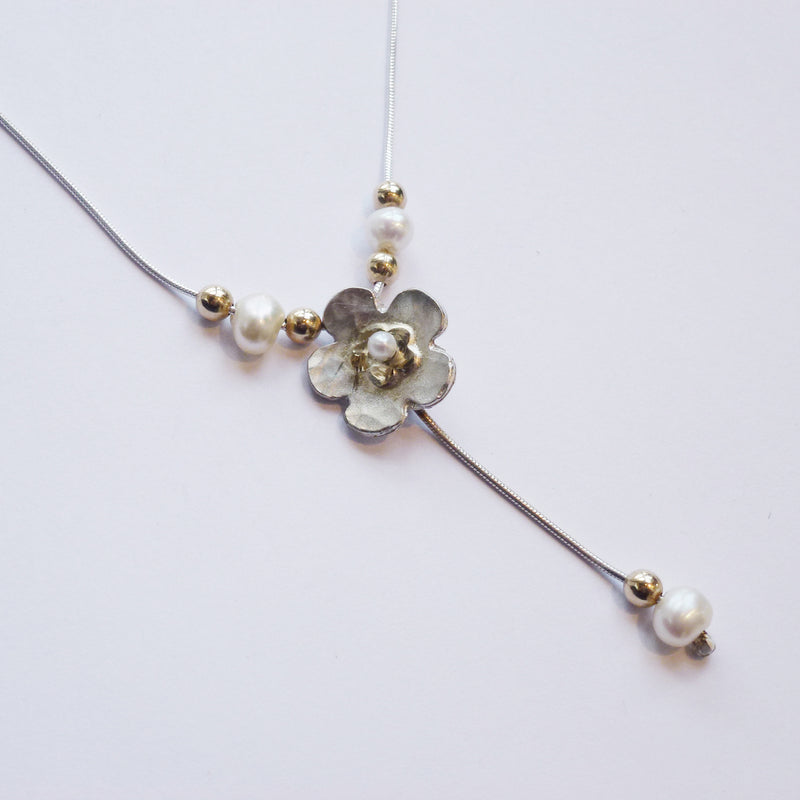 Yair Stern - Flower Necklace with Gold and Pearl Beads