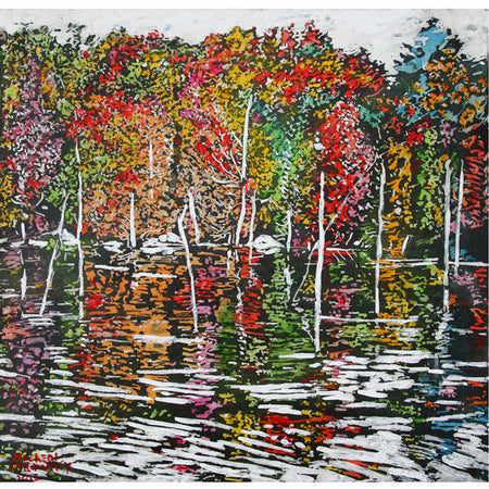 "Autumn on Pond 19 43"" x 32"""