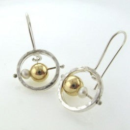 Gold and pearl bead earrings