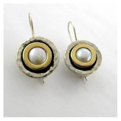 Gold and silver round earrings
