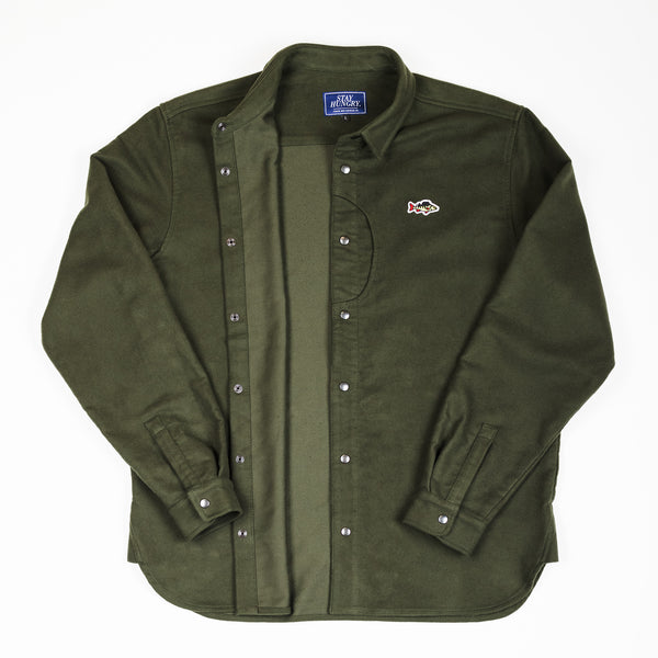 ABORRE CLASSIC OVERSHIRT - forest green waterresistant cotton fabric