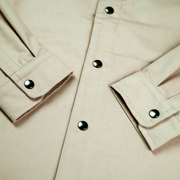 ABORRE CLASSIC OVERSHIRT - beige cotton
