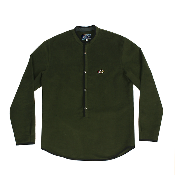 ABORRE PULLOVER Shirt – dark green waterresistant wool fabric