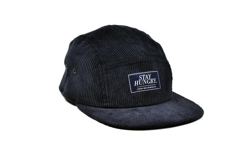 BLUE LABEL 5 panel cap – dark blue corduroy