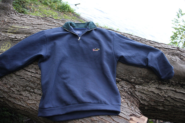 ABORRE HALFZIP SWEATER- navy / green