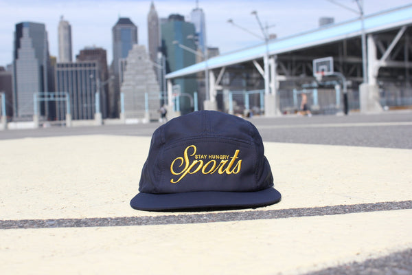SPORTS embroidery 5 panel cap - navy