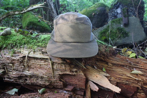 British Millerain® 5 panel cap – brown waxed cotton
