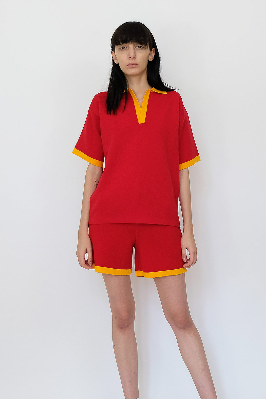 LF Knitted Wool Tshirt in Scarlet Red