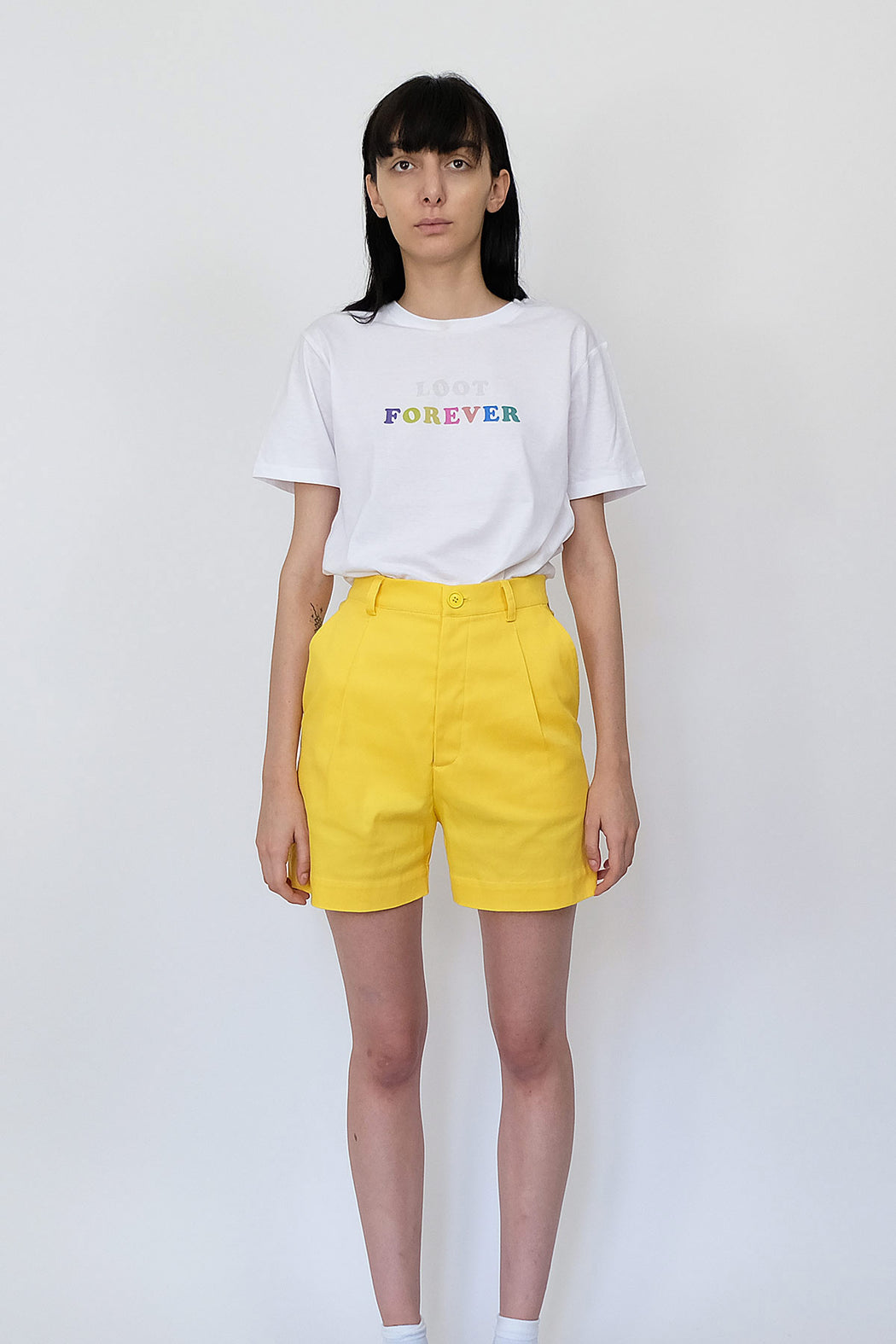 LF Cotton Shorts in Bright Yellow