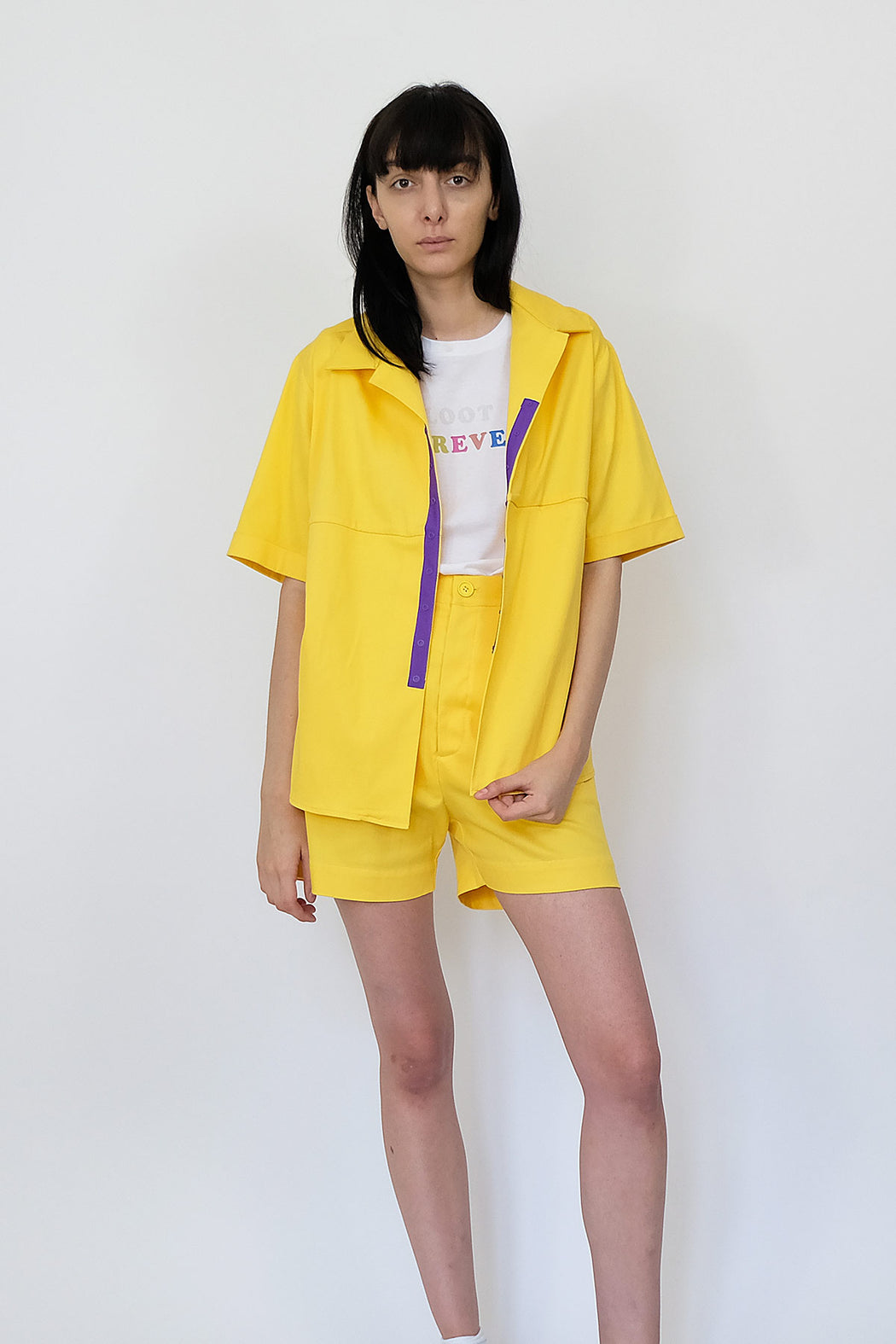 LF Short Sleeve Cotton Shirt in Bright Yellow