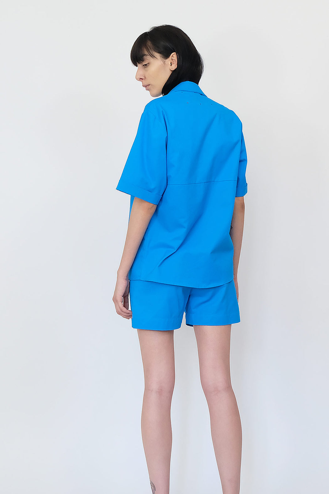 LF Short Sleeve Cotton Shirt in Bright Blue