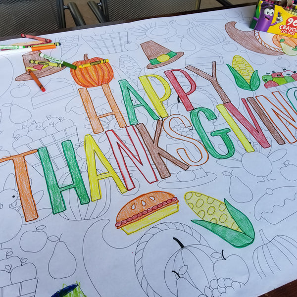Happy Thanksgiving Table Top Coloring Banner