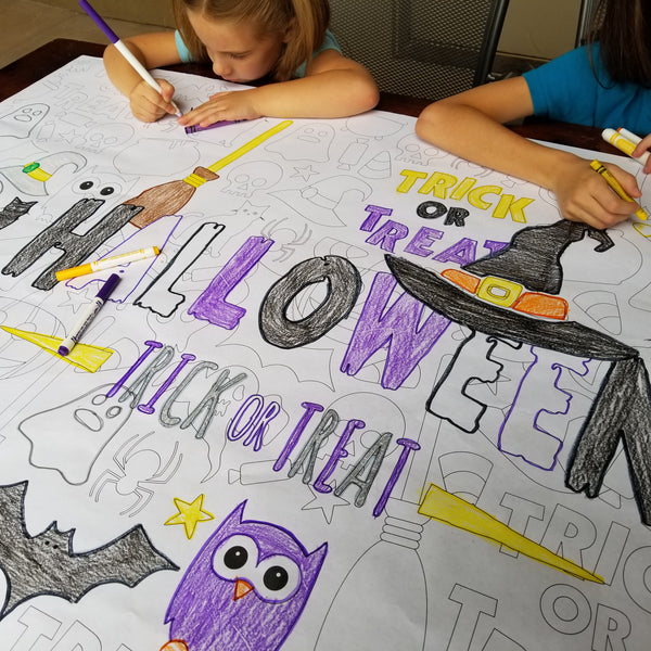 Happy Halloween Table Top Coloring Banner