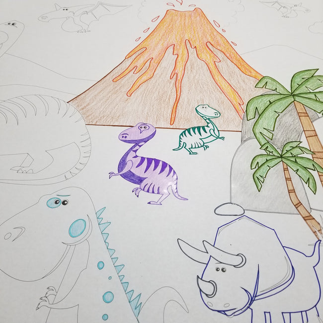 Dinosaur Table Top Coloring Banner