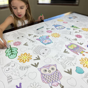 Owl Table Top Coloring Banner