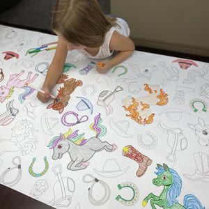 Horses Table Top Coloring Banner