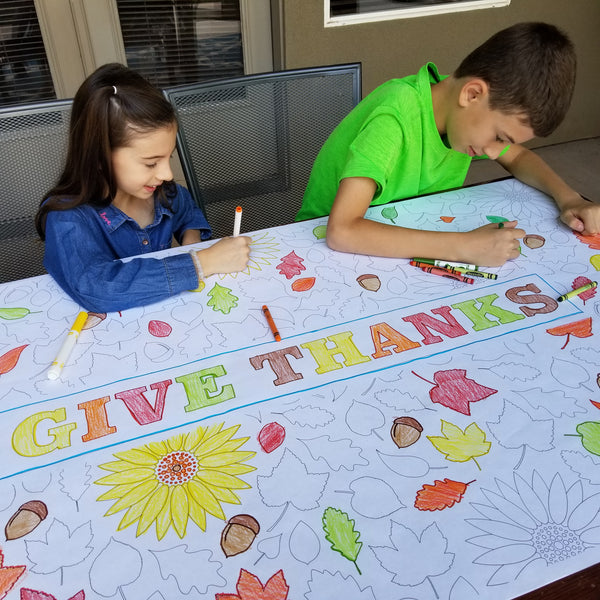 Give Thanks Table Top Coloring Banner