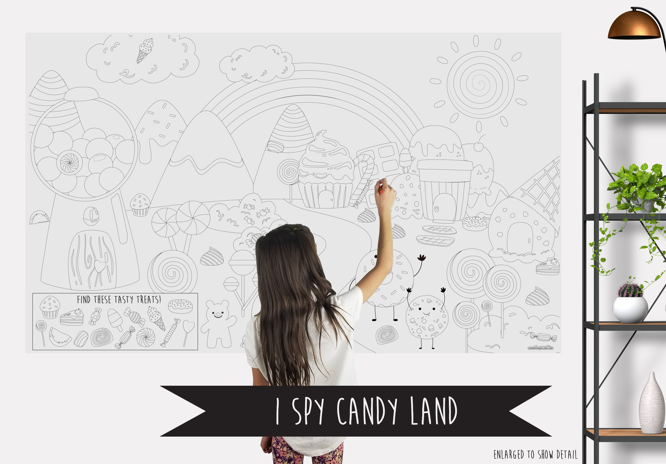 I Spy Candyland Table Top Coloring Banner