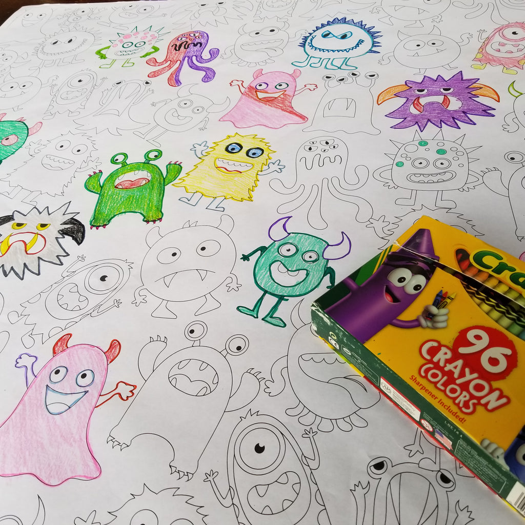 Monsters Table Top Coloring Banner