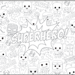 Superhero Table Top Coloring Banner