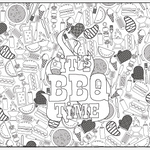 Its BBQ Time Table Top Coloring Banner