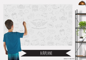 Airplane Table Top Coloring Banner