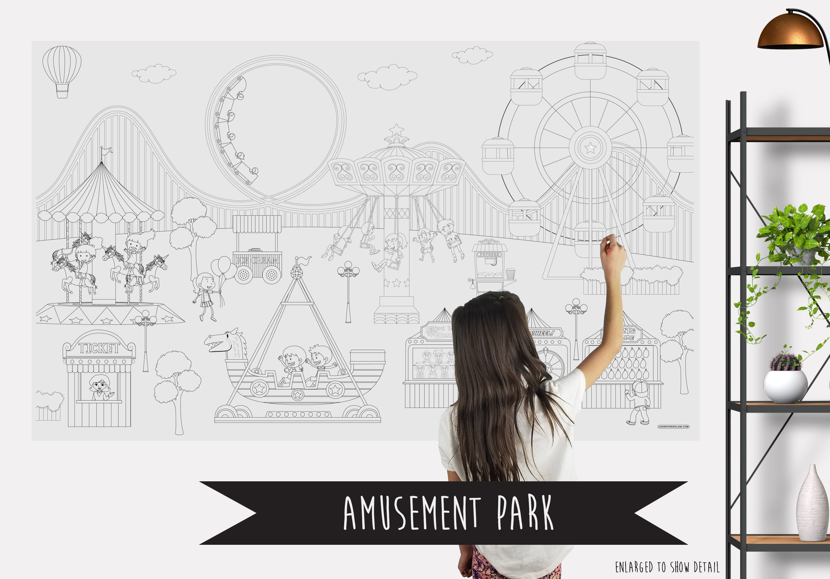 Amusement Park Table Top Coloring Banner