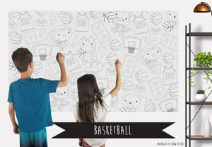 Basketball Table Top Coloring Banner
