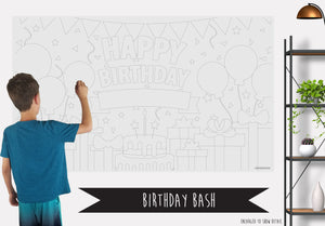 Birthday Bash Table Top Coloring Banner