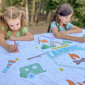 Camping Table Top Coloring Banner