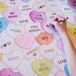 Conversation Hearts Table Top Coloring Banner