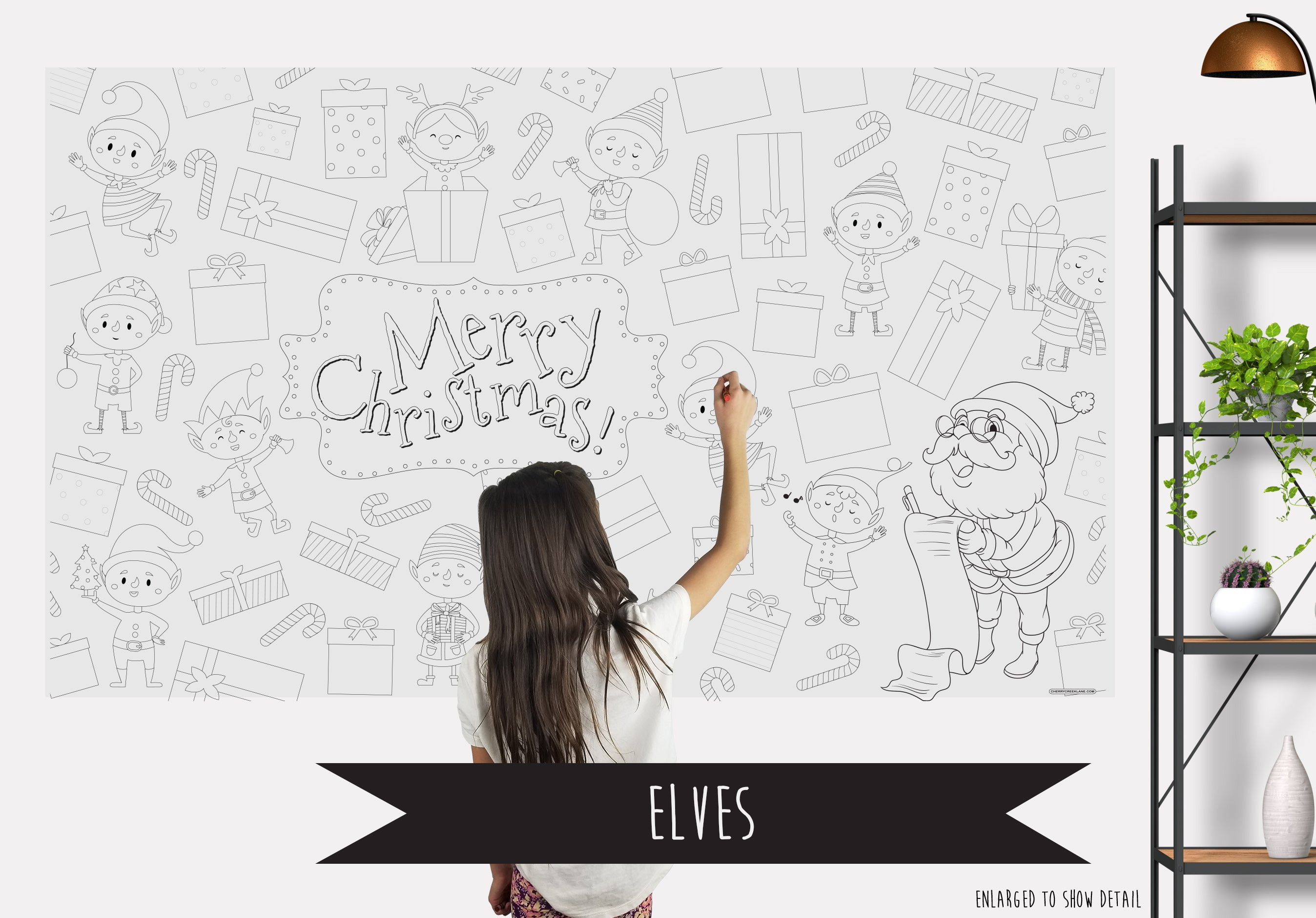 Elves Table Top Coloring Banner