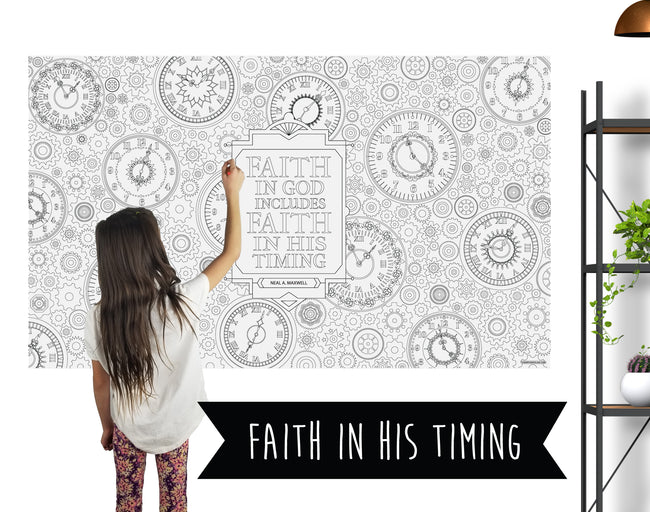 Faith In His Timing Table Top Coloring Banner