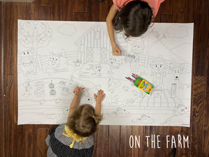 On The Farm Table Top Coloring Banner