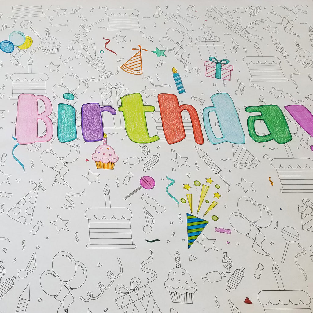 Happy Birthday Table Top Coloring Banner