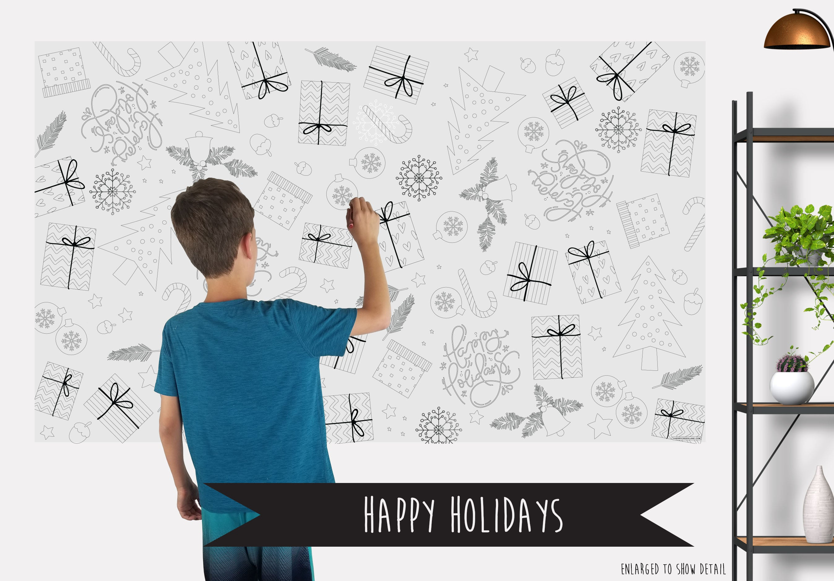 Happy Holidays Table Top Coloring Banner