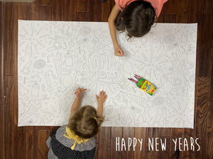 Happy New Year Table Top Coloring Banner