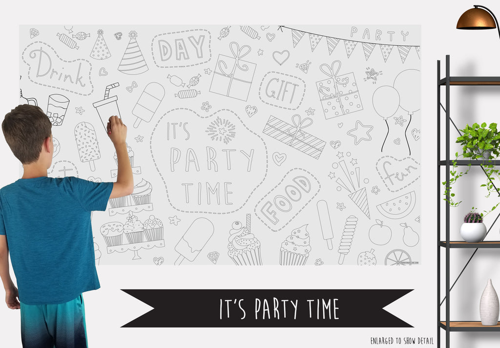 It's Party Time Table Top Coloring Banner