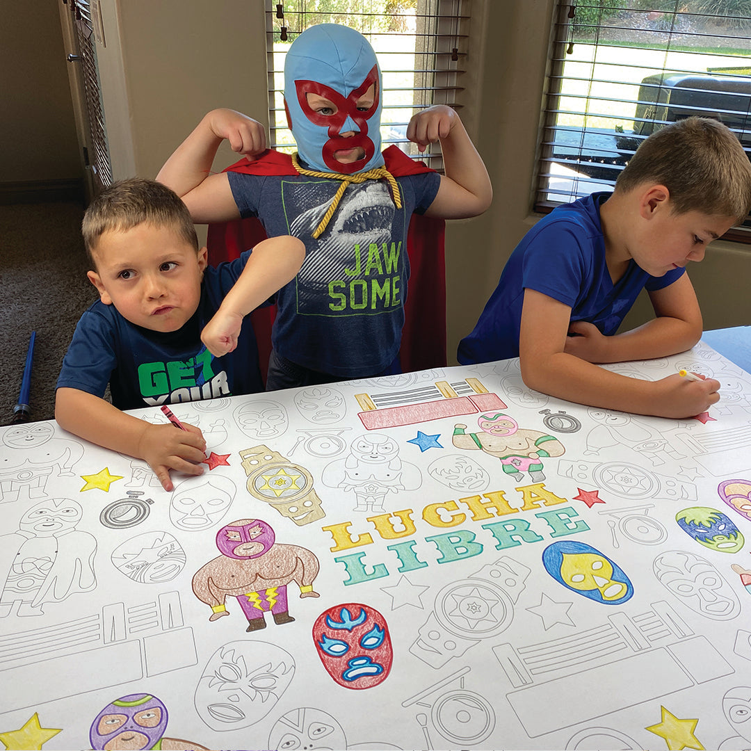 Lucha Libre Table Top Coloring Banner