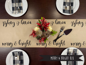 Merry & Bright BLK Kraft Paper Runner